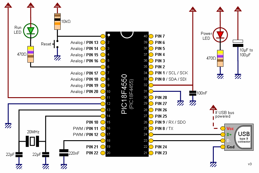 PIC 18F4550 basic diagram